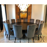 Large Diameter Custom Solid Wood Round Dining Table Top Builder with Base Options