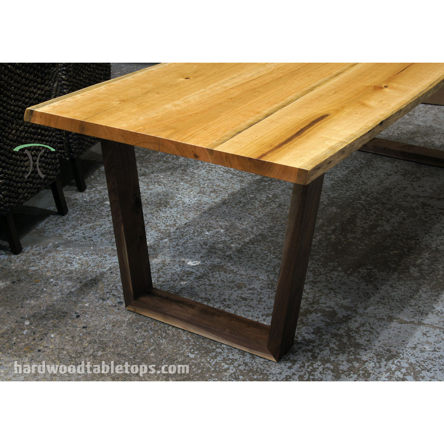Custom made solid hardwood trapezoid style table legs : cherry natural edge slab table with walnut trapezoid legs 900x900 from hardwoodtabletops.com size 900 x 900 jpeg 177kB
