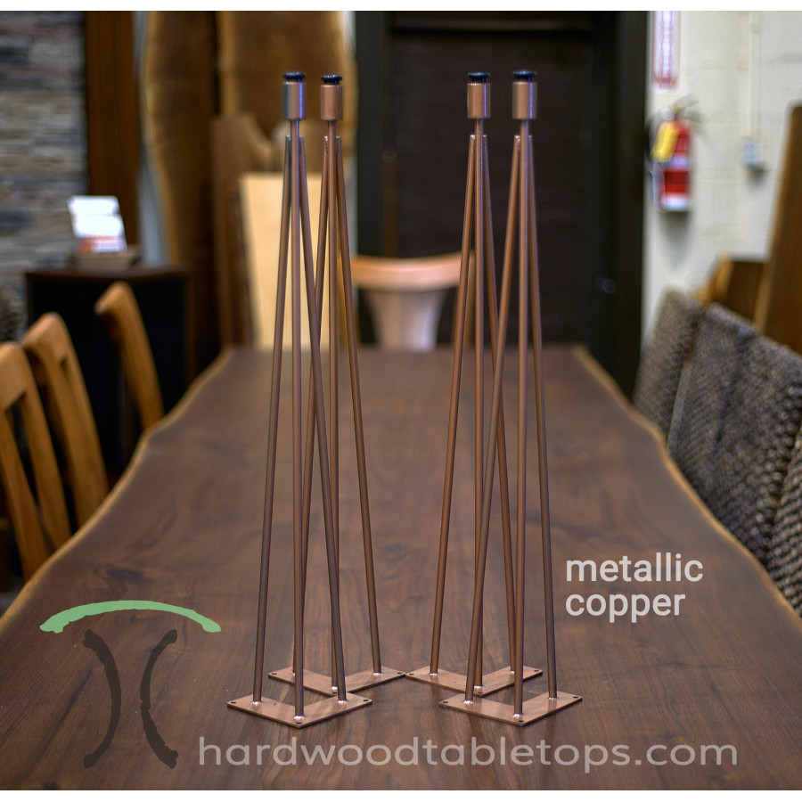 Custom made steel and stainless hairpin table legs